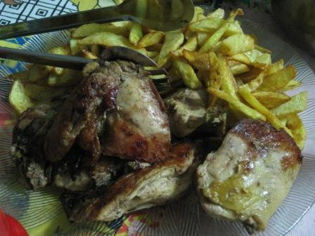 charcoal chicken and chips, a Bolivian favourite