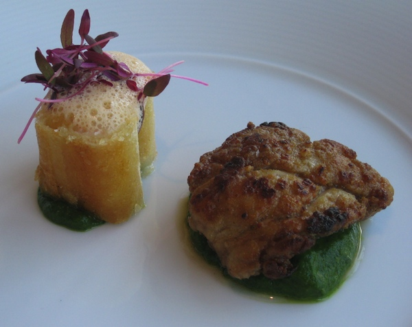 Langoustine pastilla, sauteed veal sweetbreads, spinach-fennel puree ...