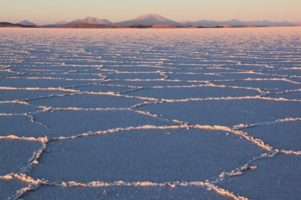 Sunrise on Uyuni salt flats