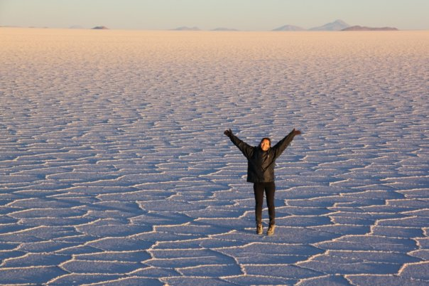 Sunrise on the Uyuni saltflats