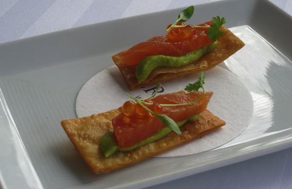 salmon and guacamole