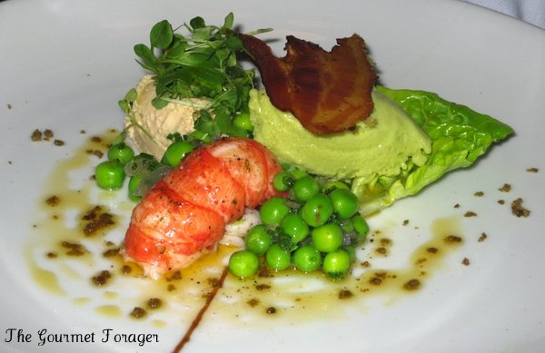 West Australian marron tail with foie gras mousse, fresh pea salad, pea and ham ice cream, crisp pork jowl