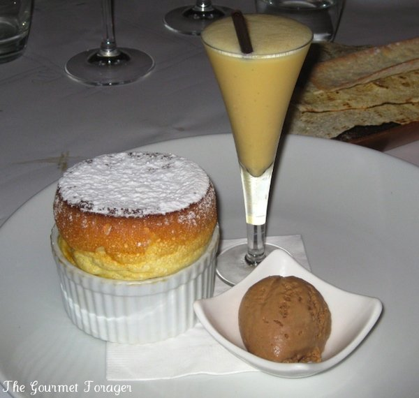 Pear and caramel souffle with milk chocolate and chicory icecream, poire william milkshake