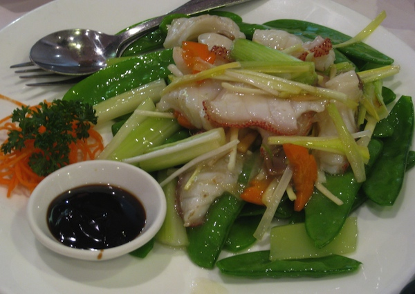 Stir fried cod fillets and veges