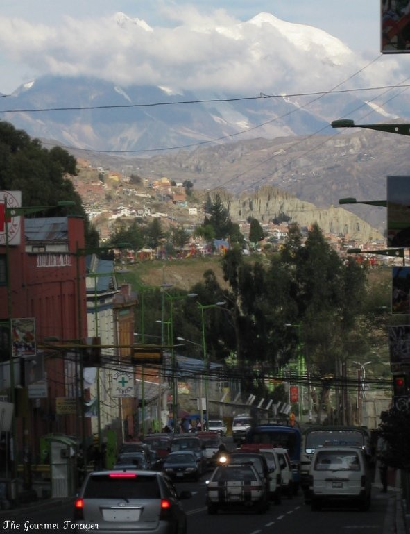 Illimani mountains looming over La Paz