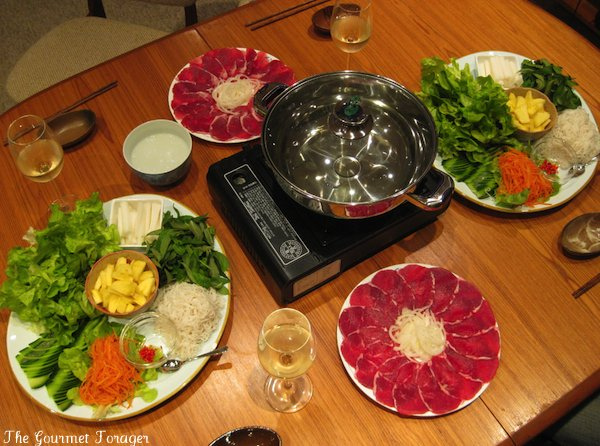 Vietnamese beef fondue set up