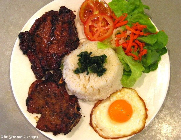 Pork chop broken rice egg