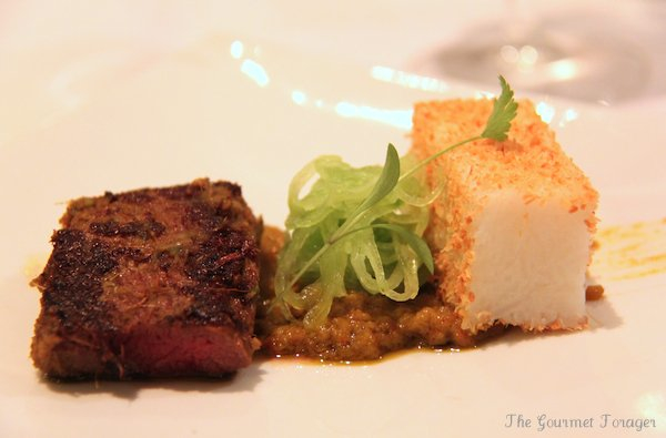 Course 5, Rump: Beef satay with spicy peanut sauce, rice cake and herb ...