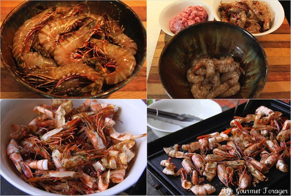 Barbequed prawn heads and shells