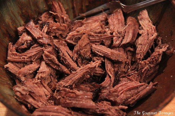 Tender chunks of pulled beef