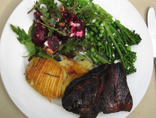 Grilled beer-fed wagyu steak paired with beetroot salad, broccolini salad and scalloped baked potatoes