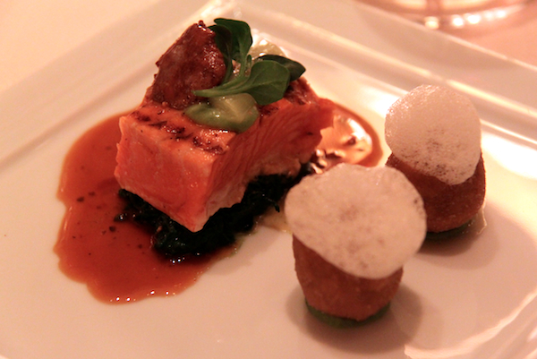Grilled Alaskan king salmon, chanterelle wilted spinach Daniel New York