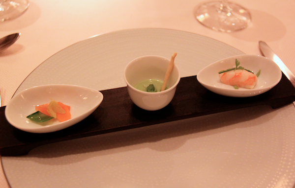Daniel New York amuse bouche prawn pea soup and salmon