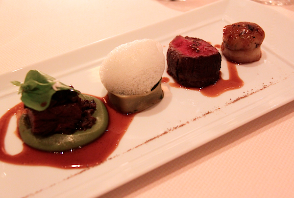 Duo of beef, angus short ribs, wagyu tenderloin, morels, fiddlehead ferns Daniel New York