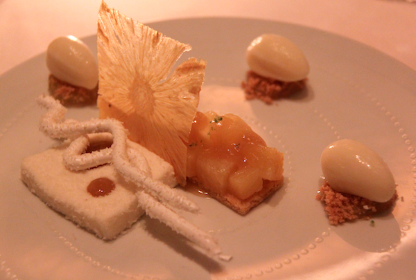 Lemongrass poached pineapple, meringue, pina colada sorbet Daniel New York