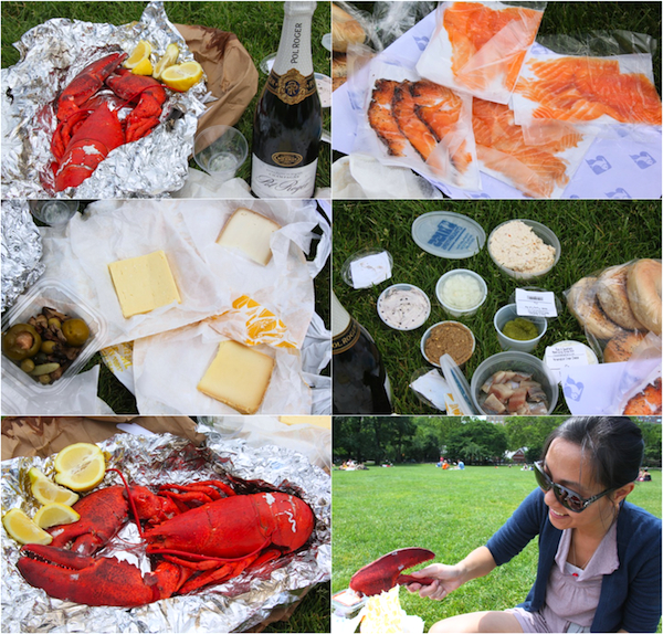 The picnic components and the obligatory lobster handshake