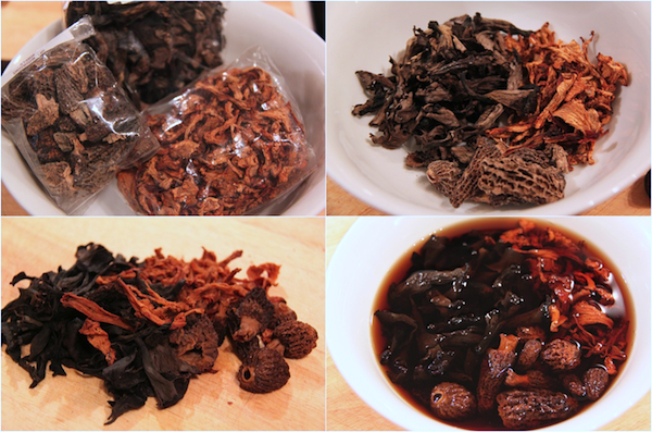 Hydrating my precious stash of dried wild mushrooms - pungent morels, chanterelles and delicious black trumpets