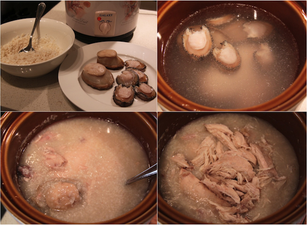 Slow cooked abalone and chicken congee in the making