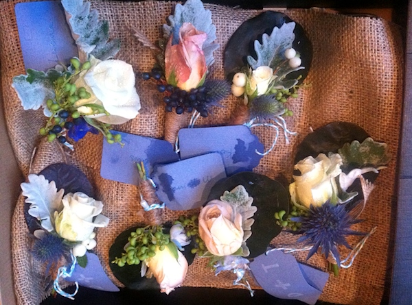 Bridal party blue themed buttonholes