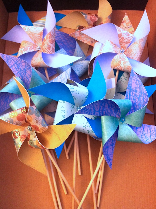 Blue pinwheels, aero dynamically certified