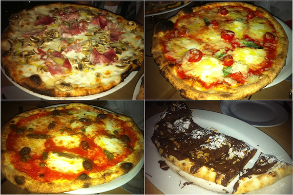The Rosso Pomodoro tasting (clockwise from top left): Gorgonzola; Saracena; Nutella and Acciughe