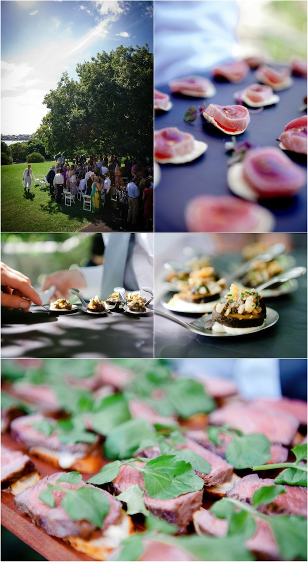 Top to bottom: Guests mingling under the tree; tuna tataki with shallot and ginger; Pickled walnuts, mushroom salad and crisp bread; and roasted Rangers Valley beef on sourdough with aioli