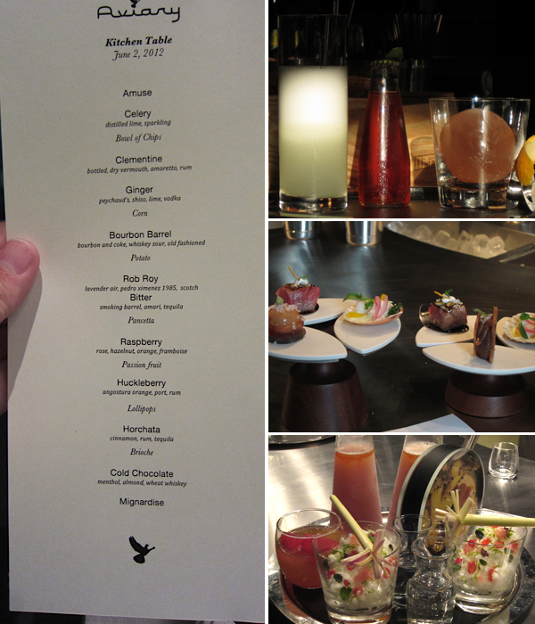 The kitchen table menu, The Aviary, Chicago, Grant Achatz
