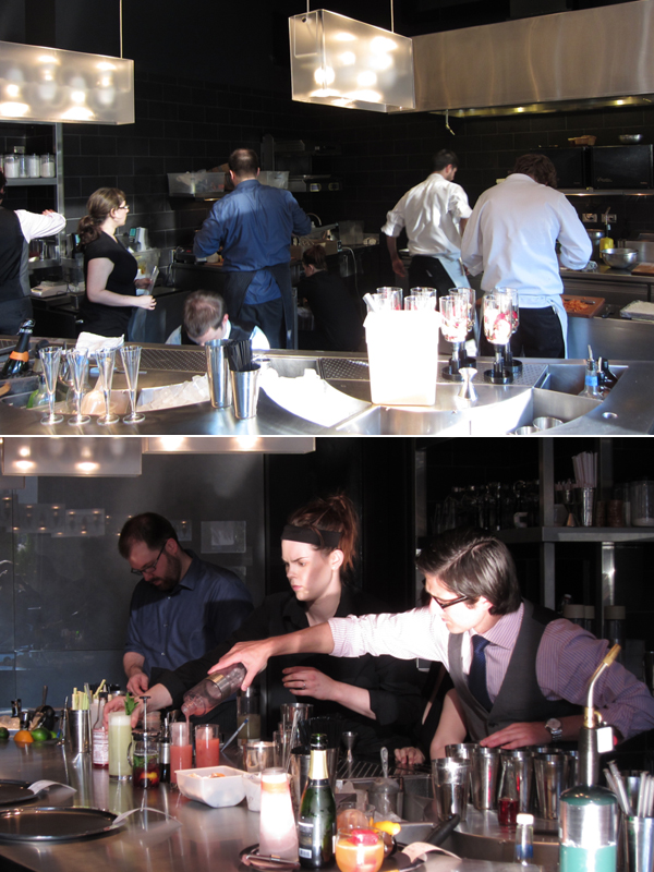 Chefs in action in The Aviary's kitchen, Chicago, Grant Achatz