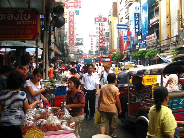 Busy Chinatown in Bangkok, Thailand
