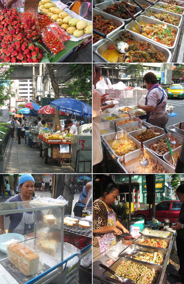 Thai street food scenes along Convent Road in Silom, Bangkok