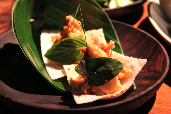 Nahm Bangkok, coconut cup cakes with a red curry of crab