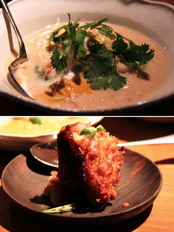 Nahm, Bangkok, minced prawn and pork curry relish, deep fried cured carp