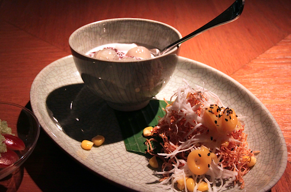 Nahm Bangkok, black sticky rice longans coconut caramelised taro