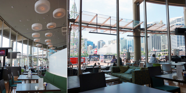Dining room flooded with plenty of light and panoramic views of Darling Harbour
