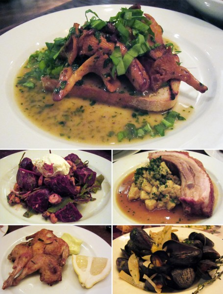 Hereford Road, Tom Pemberton, St John Bread and Wine, Fergus Henderson, Nose to tail, girolles, Blythburgh pork belly, quail, mussels