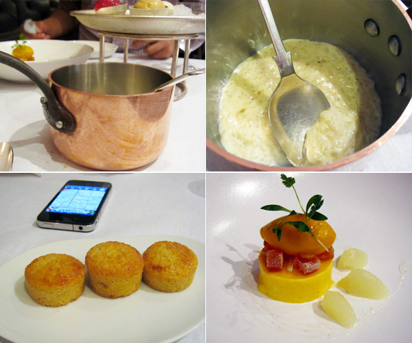 Pollen Street Social Jason Atherton, London, dessert, copper pot, rice pudding, goat's milk, mango, financiers