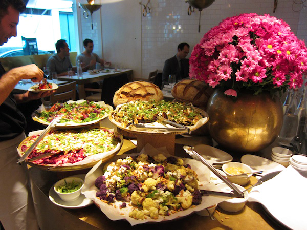 Nopi salad bar colour London Yotam Ottolenghi