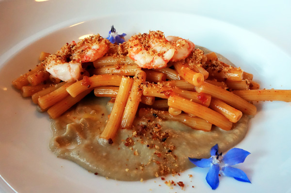 Caffe Sicilia, Heinz Beck, 3 Michelin stars, Surry Hills, 2nd course: Sedanini pasta, red shrimps, smoked aubergine coulis, croutons
