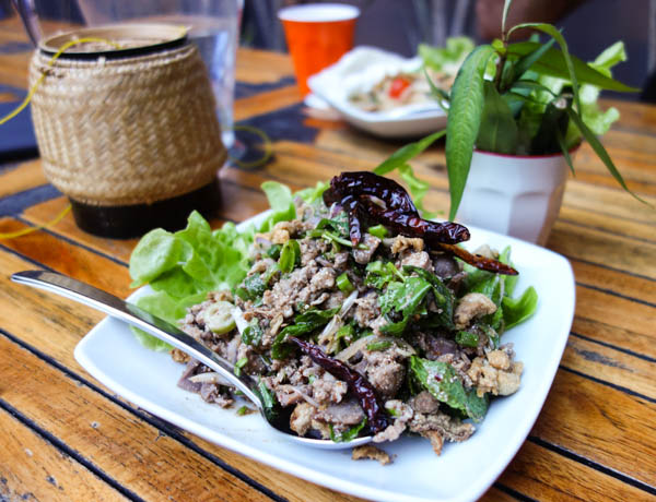 Larb Ped, Isaan minced duck salad
