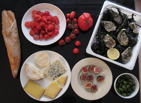 Marais, Paris, market produce, cheese, bread, olives, figs, oysters, tomatoes