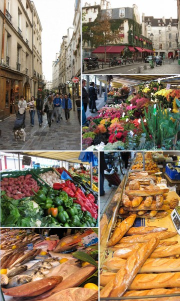 Markets, Marais, Paris, bread, flowers, vegetables, seafood