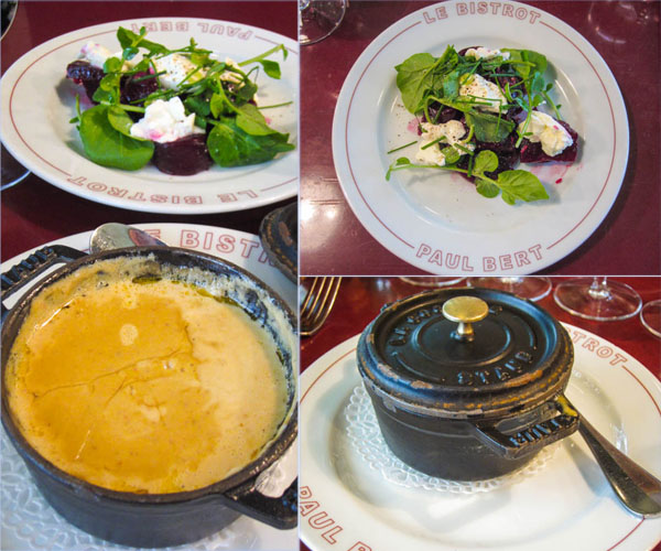 Entrees: Beetroot and watercress salad and that amazing egg cocotte with foie gras