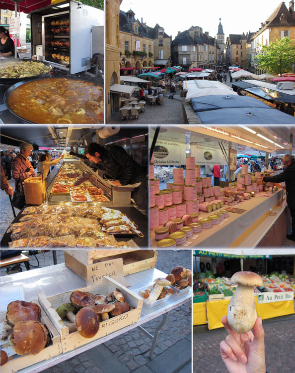 Sarlat markets, France, Dordogne, cepes, porcini, mushrooms, foie gras