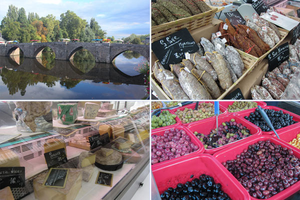 Terrason markets, salami, olives, cheeses, France, Dordogne,