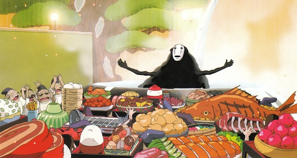 No Face, Spirited Away, Hayao Miyazaki, feast, glutton, monster