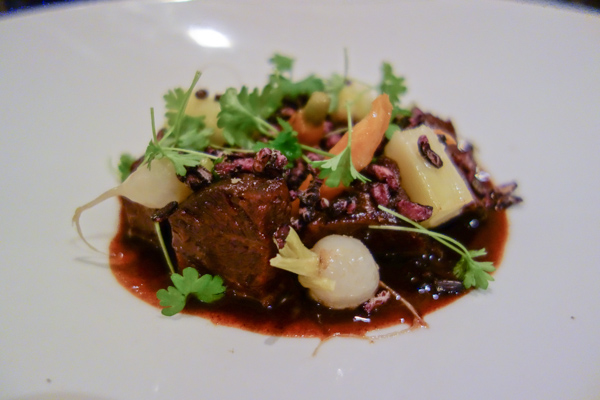 beef cheek bourguignon, licorice, baby vegetables, Public Dining Room, Guillaume Zika, Paris