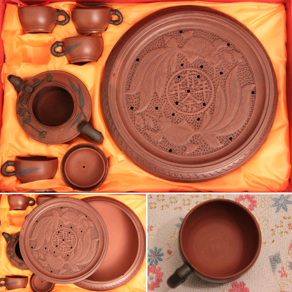 Chinese yixing purple clay tea set